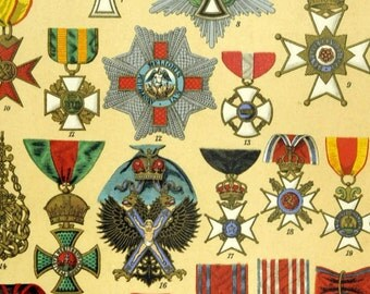 1895 Brilliantly Coloured Illuminated Chromolithograph of Important Medals and Decorations. Part 2