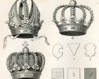 1851 Antique Steel Engraving of Crowns and Shields