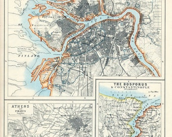 1914 Vintage Map of Petrograd (Saint Petersburg), Athens, and Constantinople - vintage city map - old city map