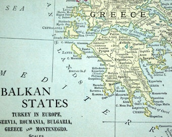 1913 Antique Map of the Balkan States - Balkan States Antique Map