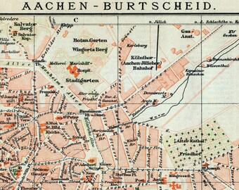 1894 German Vintage Map of Aachen-Burtscheid, Germany - Vintage City Map - Old City Map