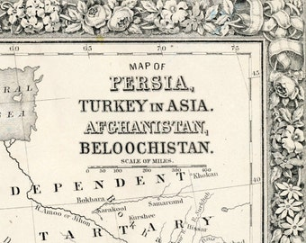 1864 Antique Map of Persia with Turkey, Afghanistan, Beloochistan - Historical Map - Mitchell Map - Handcolored