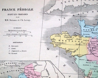 1873 Antique French Map of Feudal France during the Crusades