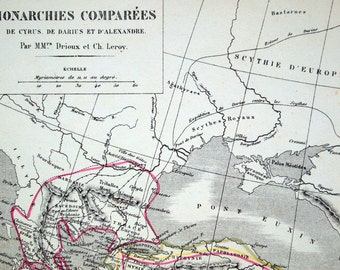 1873 Large Antique French Map of the Game of Thrones. Cyrus, Darius, and Alexander the Great