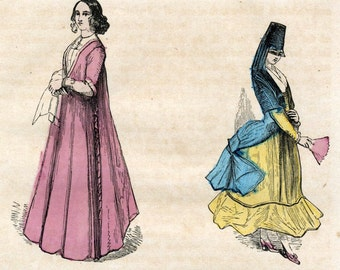 Antique Print of Italian Costumes - 1857 Hand-coloured Print