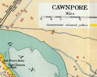 Vintage Map of Cawnpore, India - 1924 City Map - Old City Map