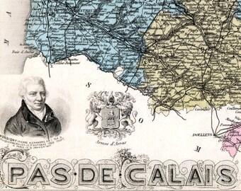 Antique Map of Pas de Calais, France - Hand-Coloured - 1883 Illustrated Map - Vintage Map - Home Decor