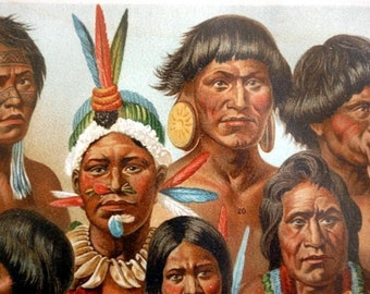 Antique Print of the Peoples of the Americas - 1895 Chromolithograph