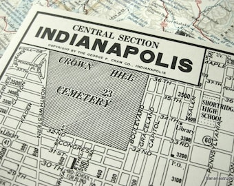 1937 Vintage Map of Indianapolis, Indiana (Central Section) - Vintage City Map - Old City Map