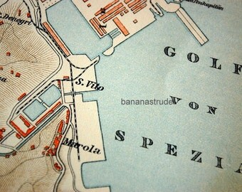 Antique Map of La Spezia, Italy - 1895 Vintage City Map - Old City Map