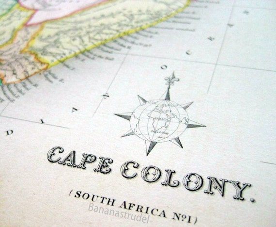 1842 Exquisite Antique Hand-Coloured Map of the Cape Colony, South Africa. From Gilbert's Modern Atlas