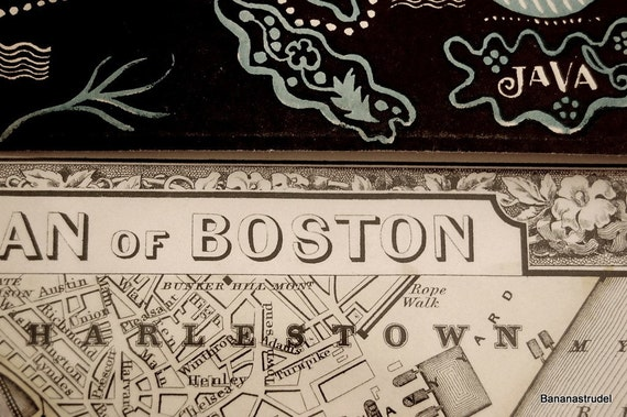 1865 Gorgeous Antique Hand-Coloured Mitchell Street Map of Boston, Massachusetts