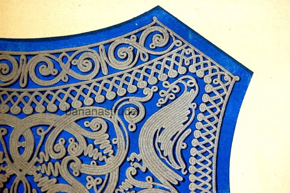 1852 Large Antique Chromolithograph of Electric Blue and Silver Greek Embroidery (RESERVED)