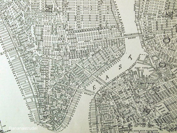 1937 Antique City Map Of Lower Manhattan New York By