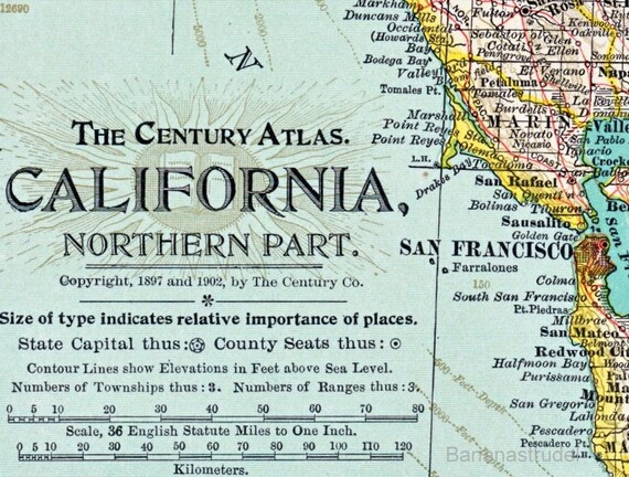 1902 Century Atlas Antique Map of Northern California with a large inset of San Francisco and Vicinity