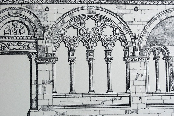 1872 Large Antique Plate of Part of Chapel Near Cathedral in Lucca, Italy. Plate no. 51
