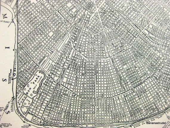Vintage Map of New Orleans, Louisiana. City Map from 1937
