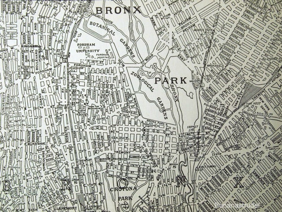 1937 Vintage City Map of Upper Manhattan and the Bronx, New York City
