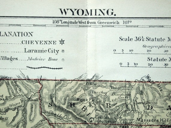 1889 Antique Map of Wyoming