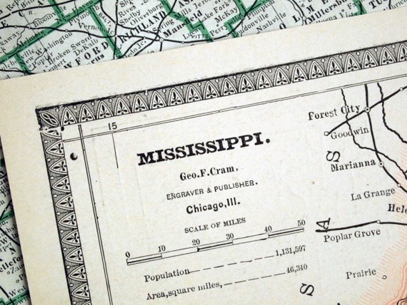 1884 Antique Map of Mississippi