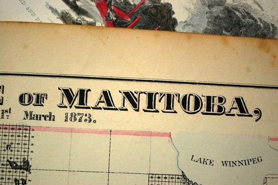 Antique Map of Manitoba, Canada - 1873 Handcolored Large Map