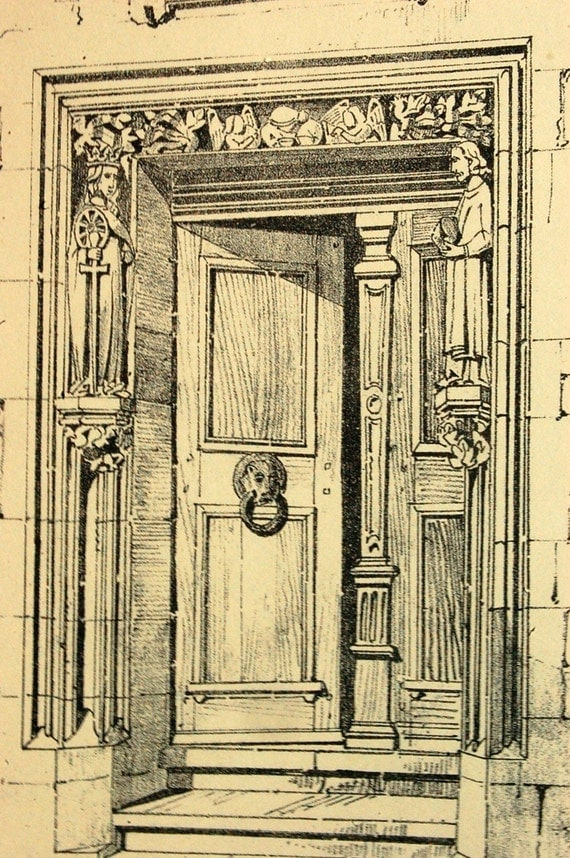1872 English Large Antique Print of Gothic Architectural Details of the Doorways of the Sacristy, Freiburg Cathedral, Germany. Plate 74