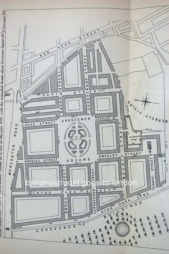 1884 Antique Map of a Portion of London. The Grosvenor Estate/Saint Martin's in the Fields as it was in 1723.
