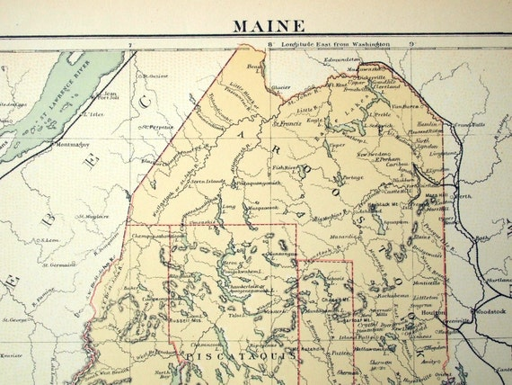 1883 Antique Map of Maine