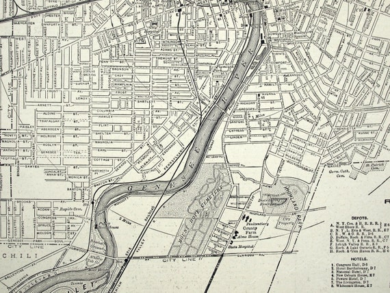 1919 vintage map of rochester new york
