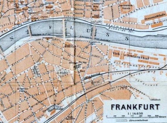 1929 vintage city map of frankfurt germany. Black Bedroom Furniture Sets. Home Design Ideas
