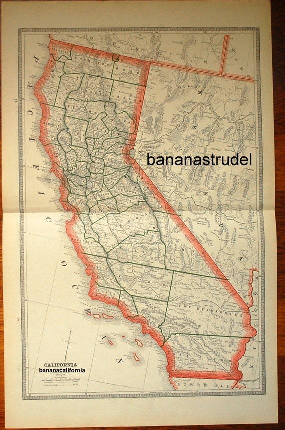1883 Large Antique Map of California