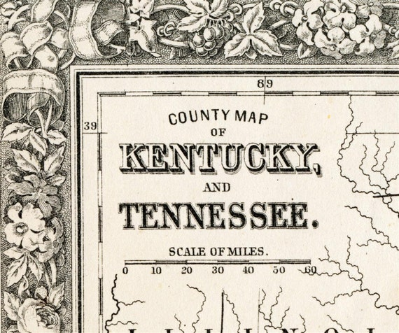 1864 Gorgeous Antique Hand-Coloured Mitchell Map of Kentucky and Tennessee