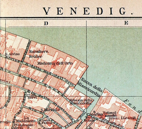 1894 German Antique City Map of Venice, Italy