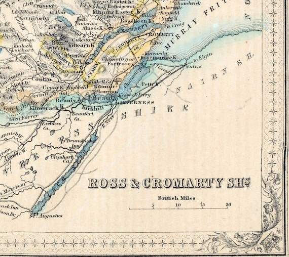 1862 Rare Hand-Coloured Antique Map of Ross and Cromarty Shires, Scotland
