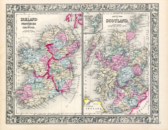1864 Gorgeous Antique Hand-Coloured Mitchell Map of Ireland and Scotland