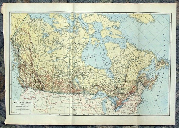 Vintage Map of the Dominion of Canada and Newfoundland - 1921 Antique Map - Home Decor