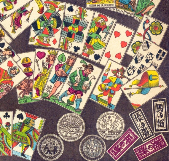 1894 German Brilliantly Coloured Chromolithograph of Playing Cards