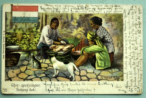 1903 Rare Antique Dutch East Indies Postcard. A Couple and a Cat