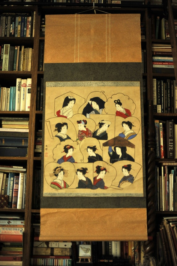 Antique Japanese Handpainted Scroll - 14 Beautiful Japanese Women - Ready to hang - 1850s to 1890s