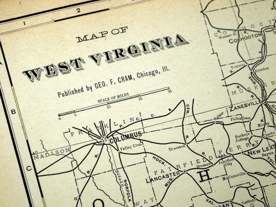 1901 Large Antique Map of West Virginia