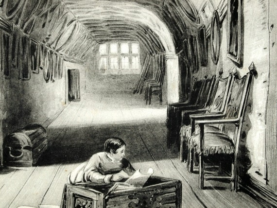 1845 Your Personal Downton Abbey Series. English Antique Wood Engraving of the Retainer's Gallery in Knole, Kent, England