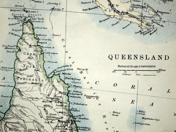 1914 Antique Map of Queensland, Australia