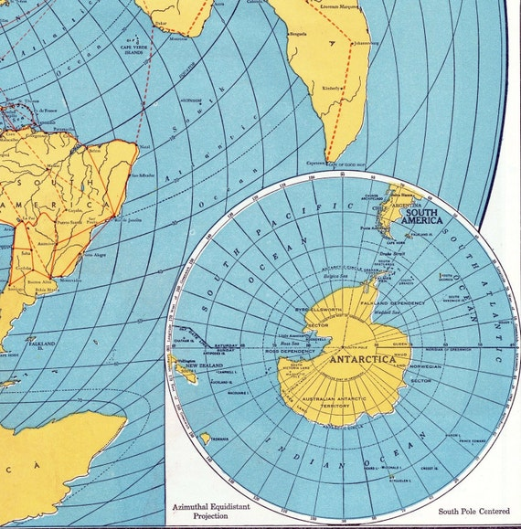 1942 Vintage World Map A Fisheye View of the Earth