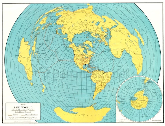1942 Vintage World Map - A Fish-eye View of the Earth - US-Centered Map