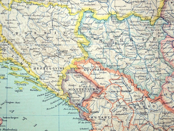 1893 Large French Antique Physical Map of the Balkan Peninsula
