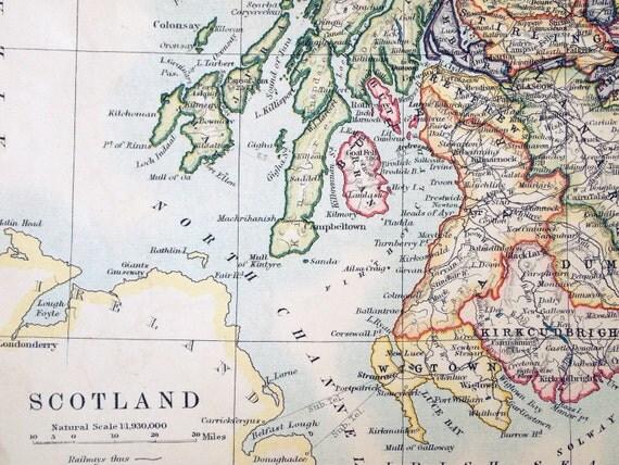 1914 Antique Map of Scotland