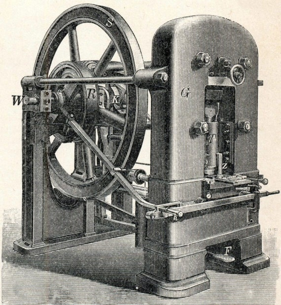 1894 German Antique Engraving of Coin Minting Technology