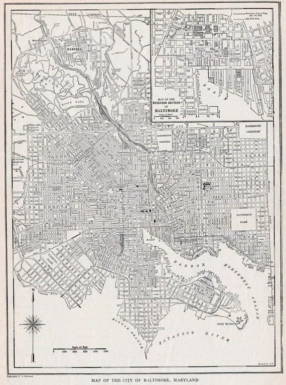 1922 Antique Street Map of Baltimore, Maryland