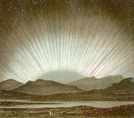 1892 Antique Brilliantly Coloured German Chromolithograph of Polar Lights / Northern Lights / Aurora Borealis