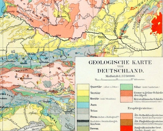 1895 Antique Geological Map of Germany